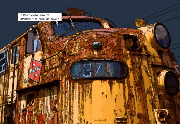 Yellow train -- Medium 90x60 229€ // Large 130x90 429€