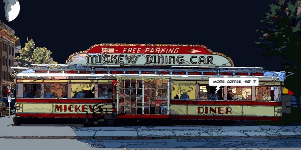 Mickey's diner -- Medium 90x50 219€ // Large 140x70 399€