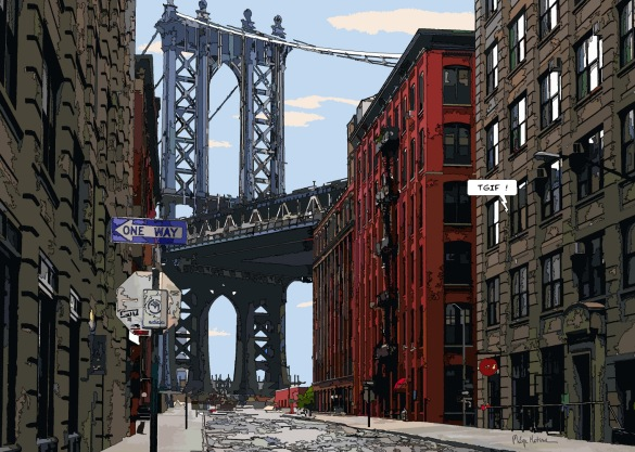 "Manhattan bridge ""Thank God It's Friday !"" -- Medium 100x70 259€ // Large 140x100 429€"