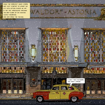 Waldorf taxi snow -- Medium 80x80 239€ // Large 100x100 299€