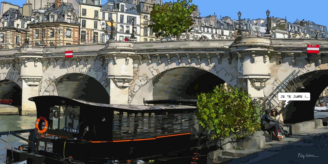 Petit Pont Neuf je te jure -- Medium 100x50 229€ // Large 160x80 479€
